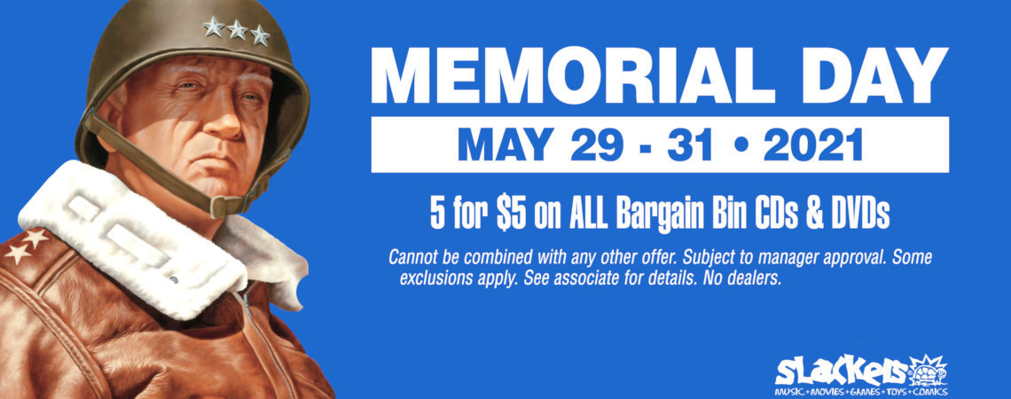 5 for $5 on all Bargain Bin CDs & DVDs - cannot be combined with any other offer. Subject to manager approval. Some exclusions apply. See associate for details. No dealers. Valid May 29th-31st, 2021 only.