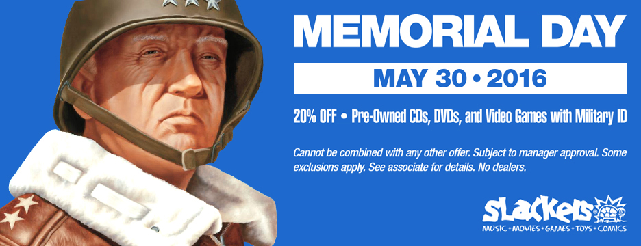 20% off pre-owned CDs, DVDs, and Video Games with Military ID - cannot be combined with any other offer. Subject to manager approval. See associate for details. No dealers. Valid May 30th, 2015 only.