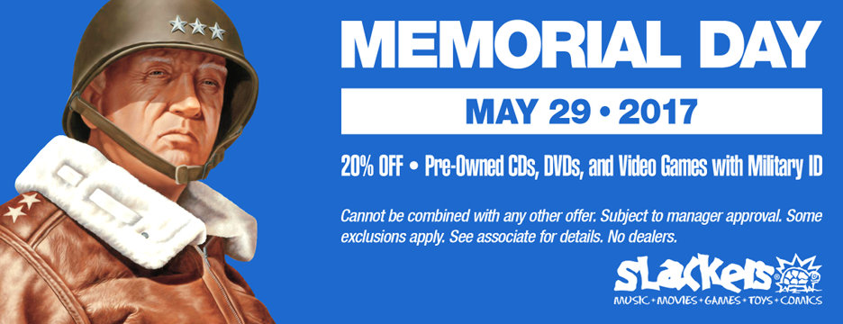20% off pre-owned CDs, DVDs, and Video Games with Military ID - cannot be combined with any other offer. Subject to manager approval. See associate for details. No dealers. Valid May 29th, 2017 only.